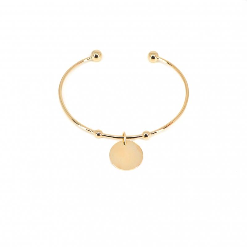 Bracelet jonc breloque en plaqué or - Les créations de Lili