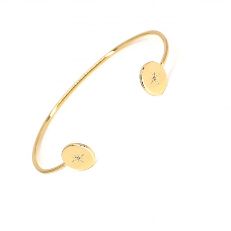 Bracelet jonc céleste en plaqué or - Les créations de Lili