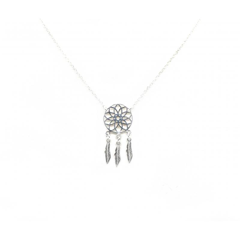 Dream catcher silver necklace - Pomme Cannelle