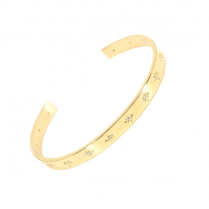 Bracelet jonc stars céleste en plaqué or - Les créations de Lili