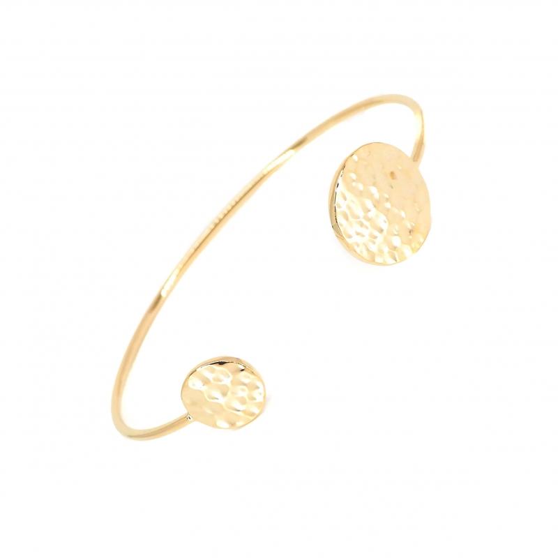 Bracelet jonc pastilles martelées en plaqué or - Les créations de Lili