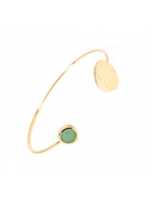 Chip aventurine gold bangle bracelet - Pomme Cannelle