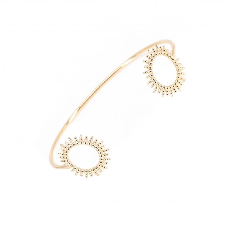 Bracelet jonc soleil en plaqué or - Les créations de Lili