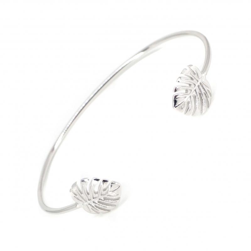 Bracelet jonc fougères en argent - Les créations de Lili