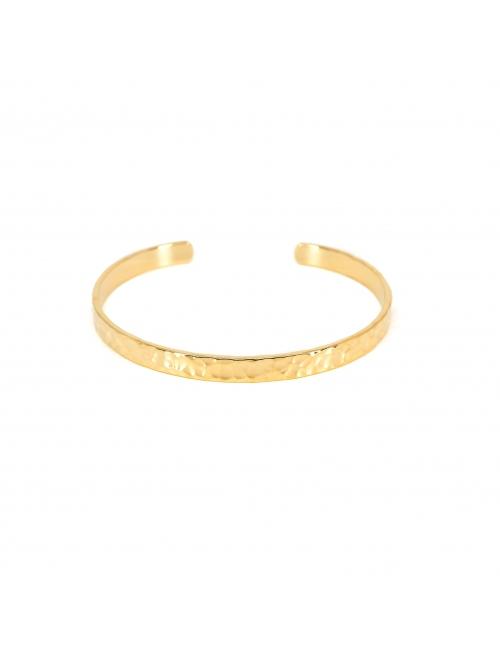 Bracelet jonc martelé en plaqué or - Pomme Cannelle