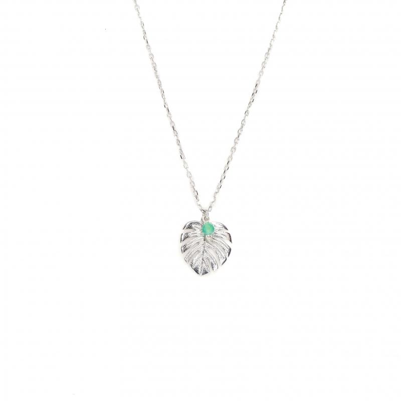 Fern silver necklace -...