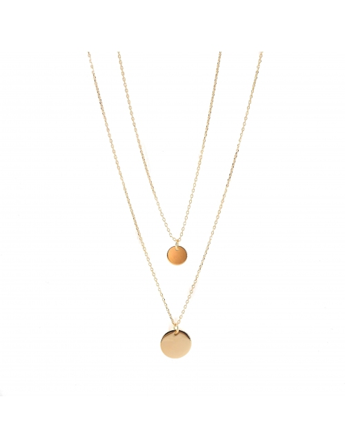 Double chain chip gold necklace - Pomme Cannelle