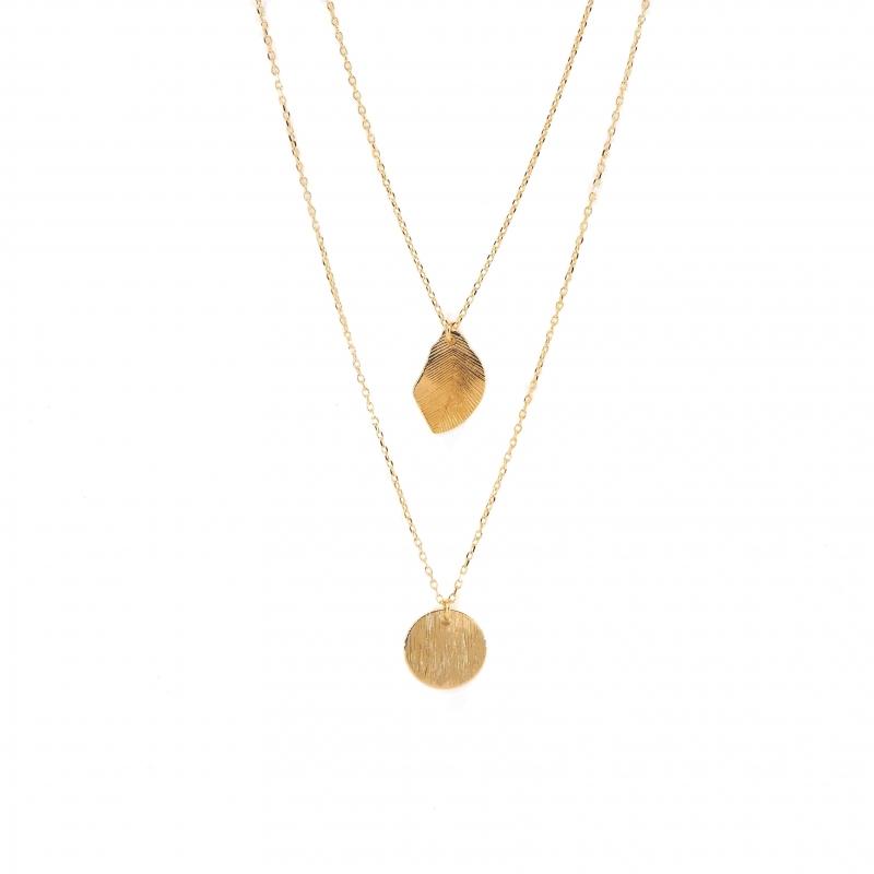 Leaf pastille gold necklace...