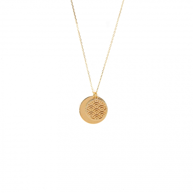 Double medals gold necklace...
