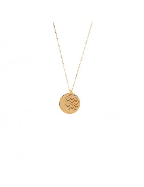 Collier double médailles en plaqué or - Pomme Cannelle