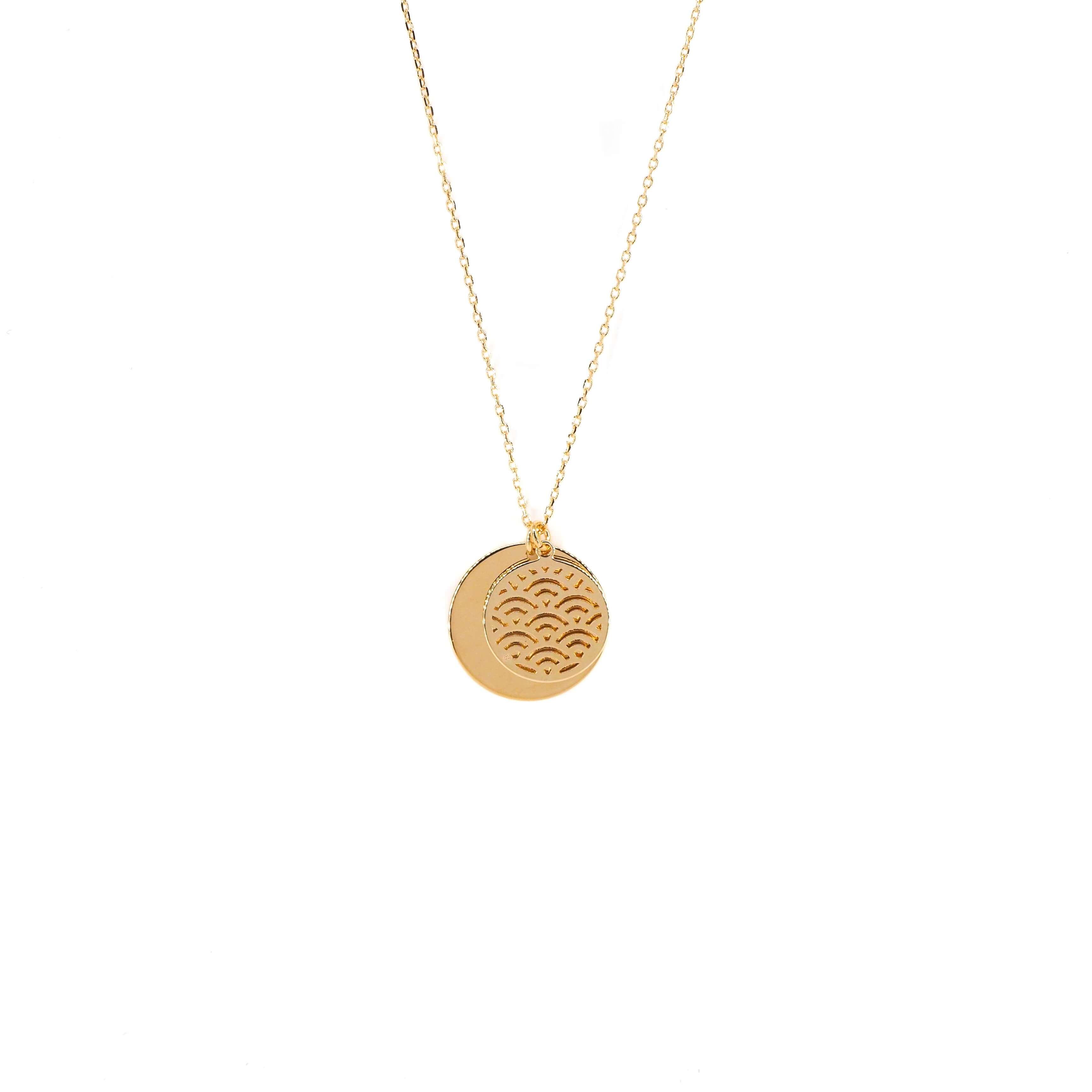 Collier double médailles en plaqué or - Les créations de Lili
