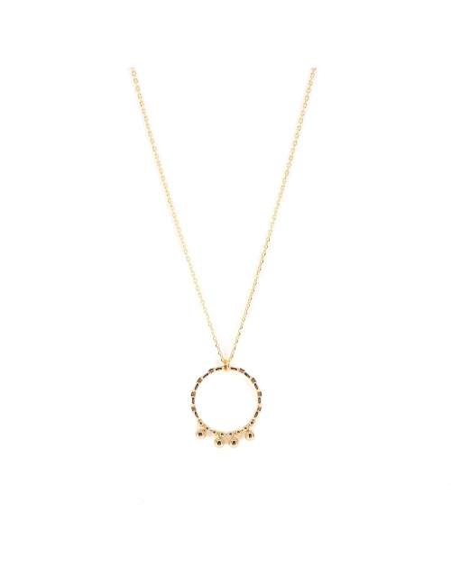 Long circle ball gold necklace - Pomme Cannelle