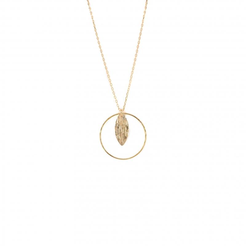 Collier long cercle feuille en plaqué or - Les créations de Lili