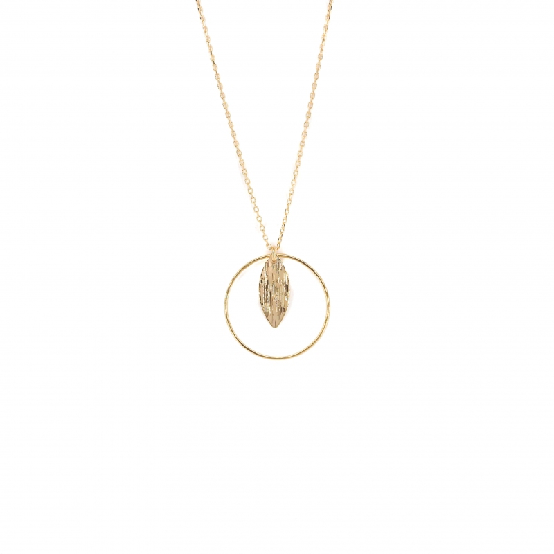 Leaf circle gold necklace -...