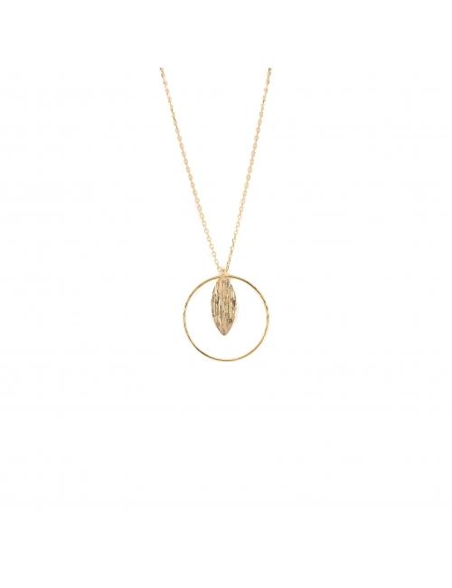 Leaf circle gold necklace - Pomme Cannelle