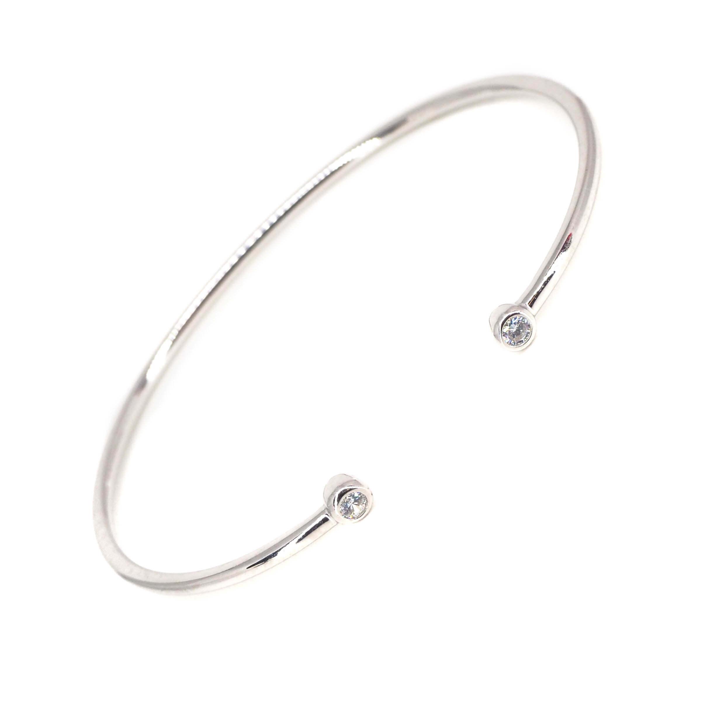 Bracelet jonc brillants en argent - Les créations de Lili