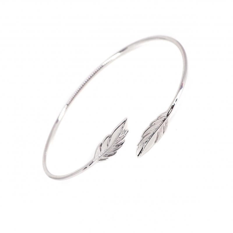 Bracelet jonc plumes duo en argent - Pomme Cannelle