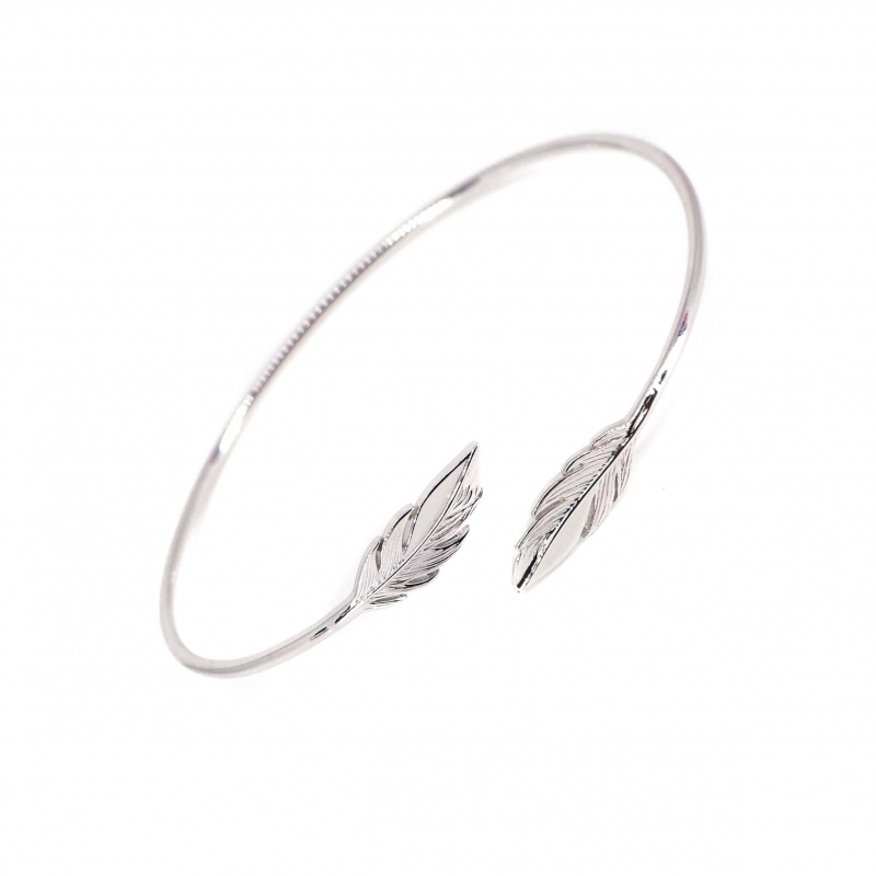 Feathers duo silver bangle bracelet - Pomme Cannelle