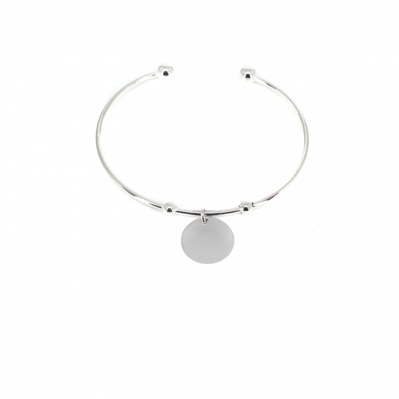 Bracelet jonc breloque en argent - Les créations de Lili