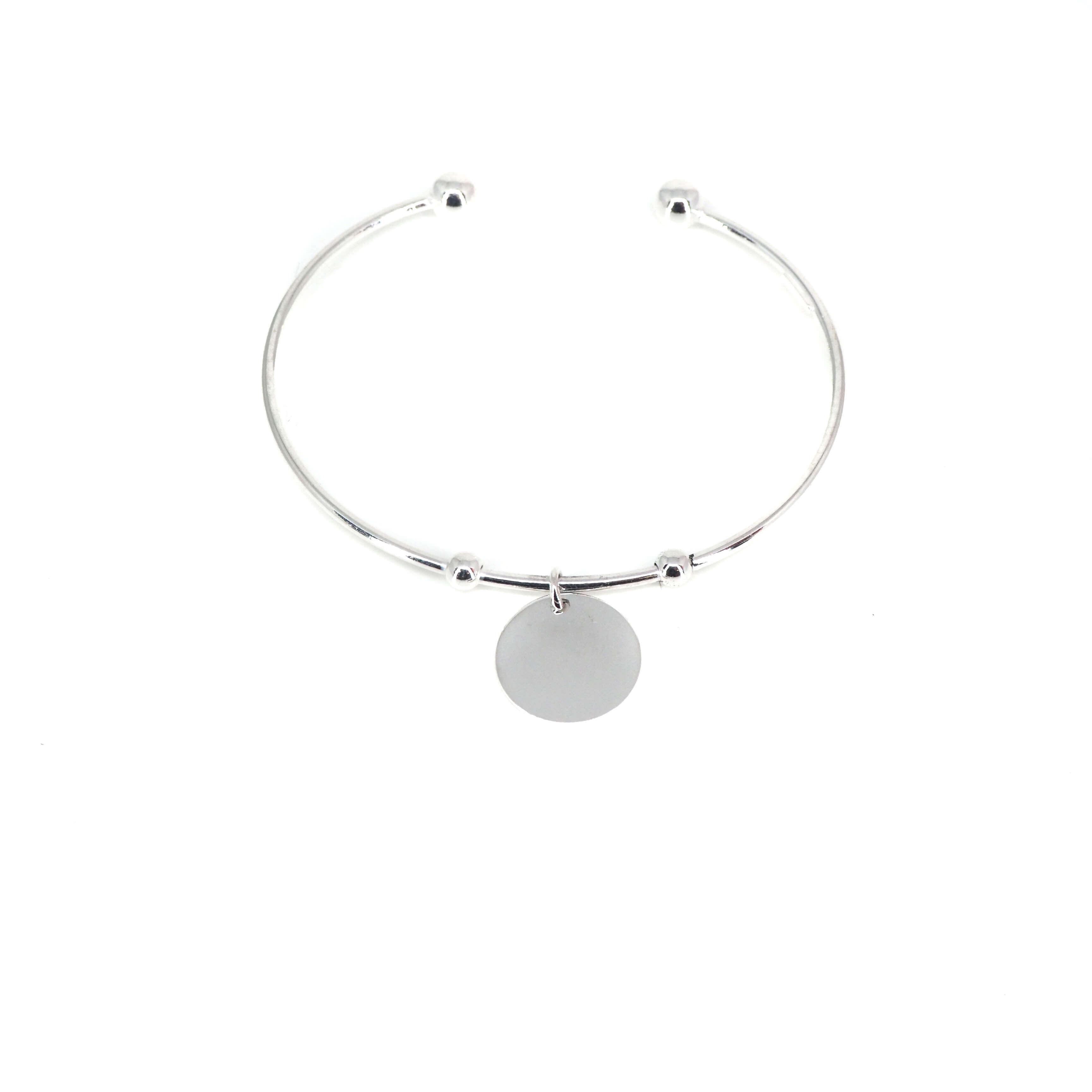 Bracelet jonc breloque en argent - Pomme Cannelle
