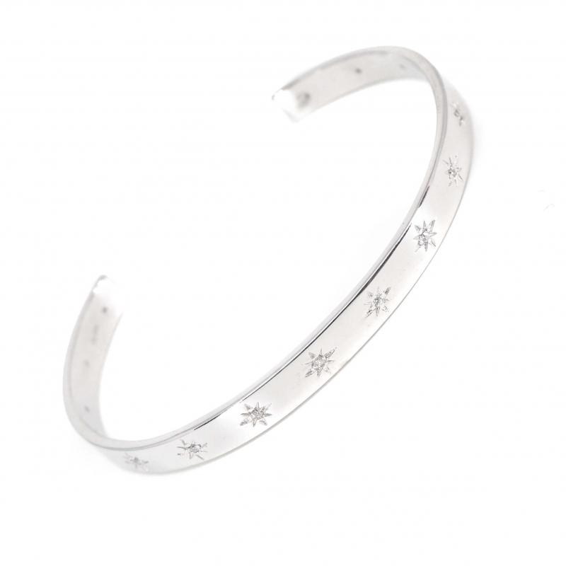 Bracelet jonc stars céleste en argent - Les créations de Lili