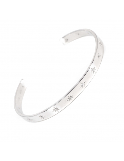Celestial stars silver bangle bracelet - Pomme Cannelle