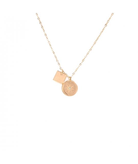 Collier pastille étoilée en acier rose - Zag Bijoux - Zag Bijoux