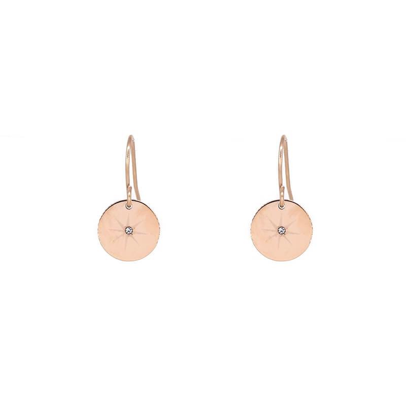 Boucles d'oreilles pastilles étoilées en acier rose - Zag Bijoux