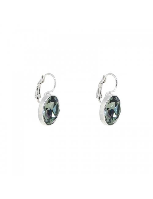 Oval crystal satin silver earrings - Bohm Paris