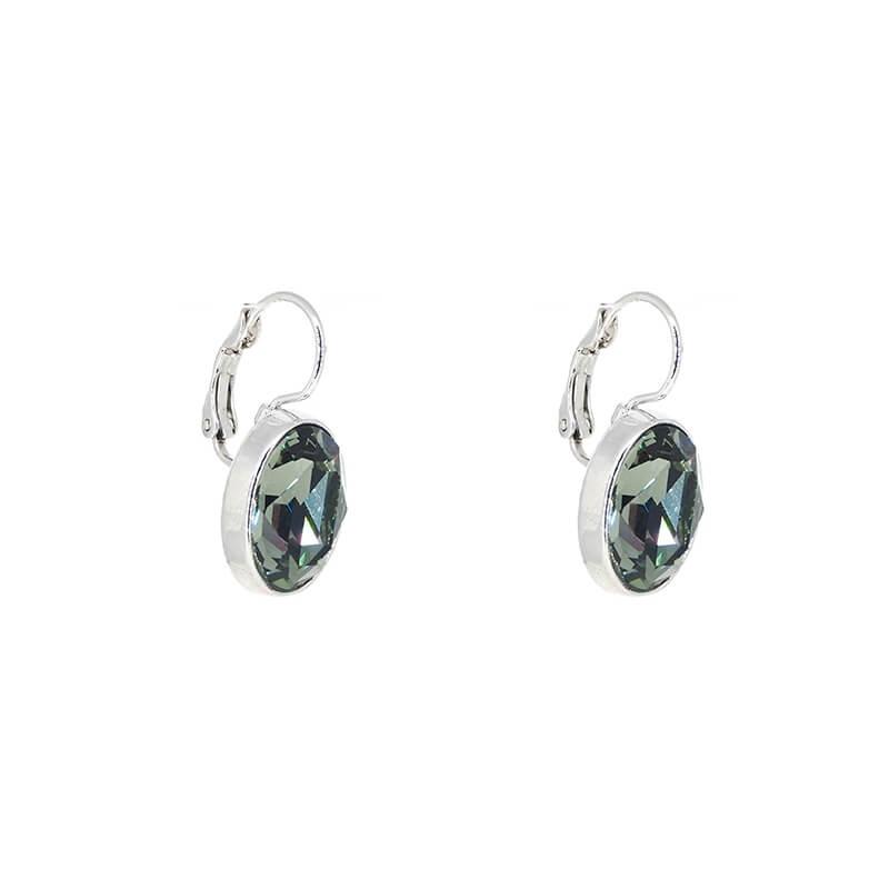 Boucles d'oreilles ovales crystal satin - Bohm Paris