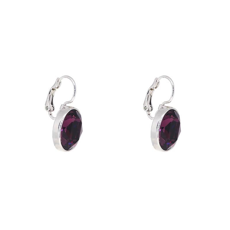Oval amethyst silver earrings - Bohm Paris