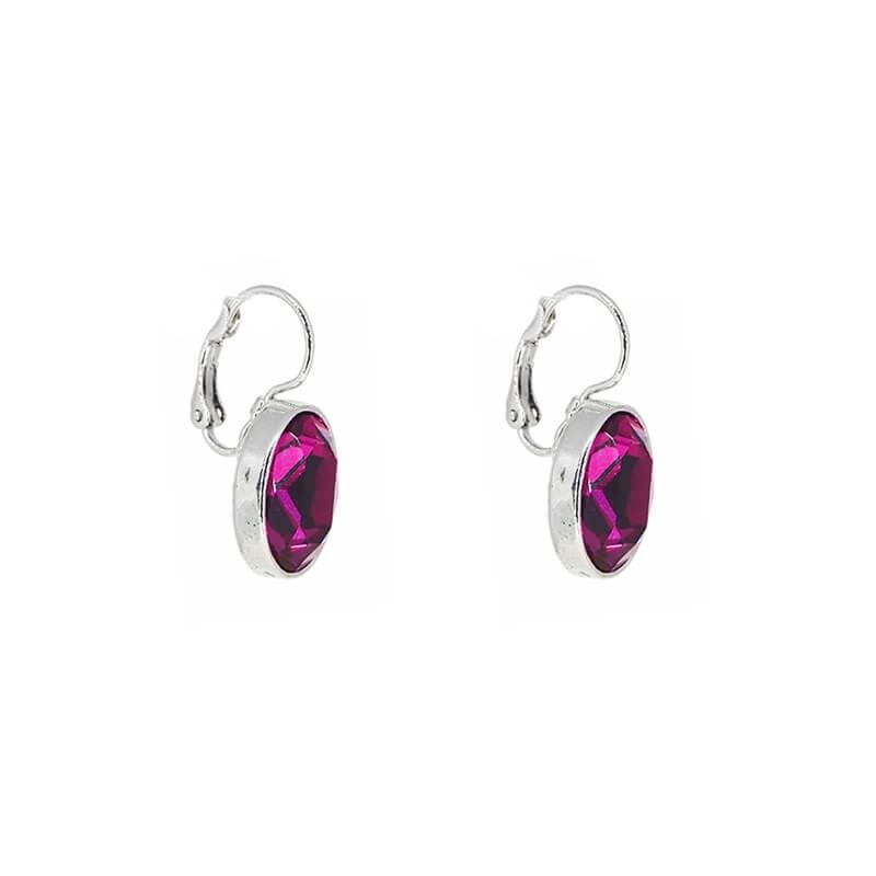 Oval fushia silver earrings...