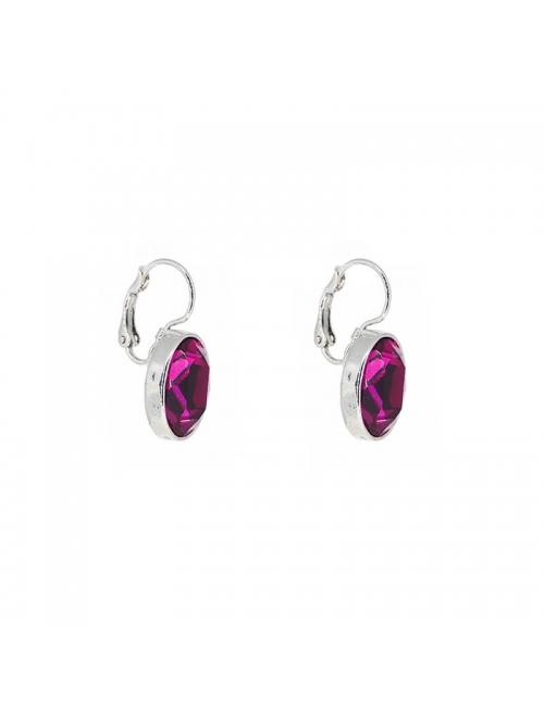 Oval fushia silver earrings - Bohm Paris