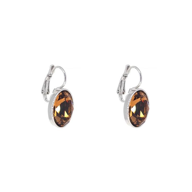 Oval smoked topaz silver earrings - Bohm Paris