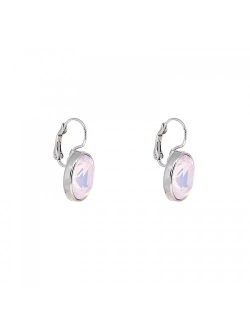 Oval rose opal silver earrings - Bohm Paris