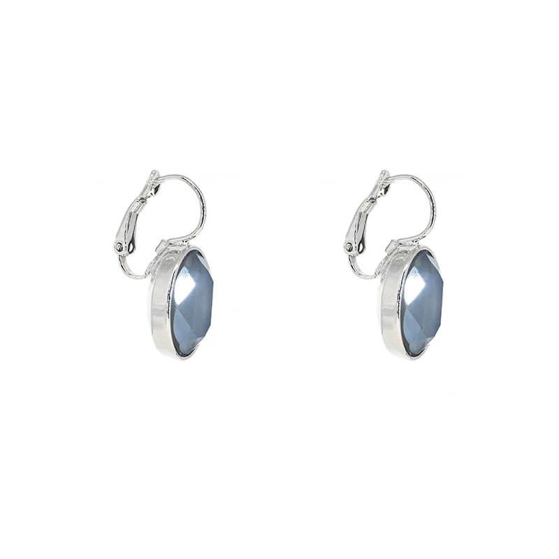 Oval royal grey silver earrings - Bohm Paris