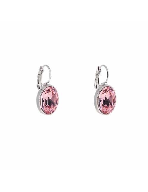 Oval light rose silver earrings - Bohm Paris