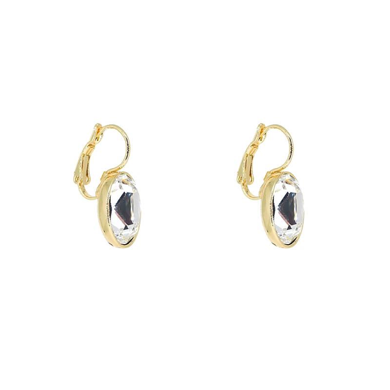 Boucles d'oreilles ovales crystal acier or - Bohm Paris