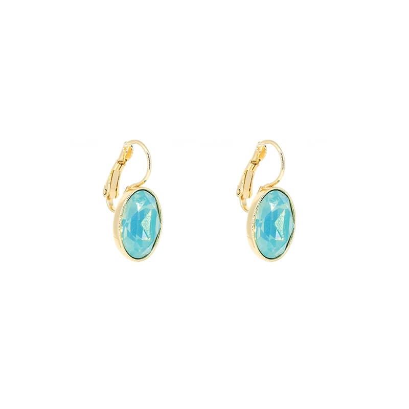Boucles d'oreilles ovales pacific opal en acier jaune - Bohm Paris
