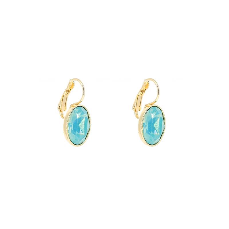 Boucles d'oreilles ovales pacific opal acier or - Bohm Paris