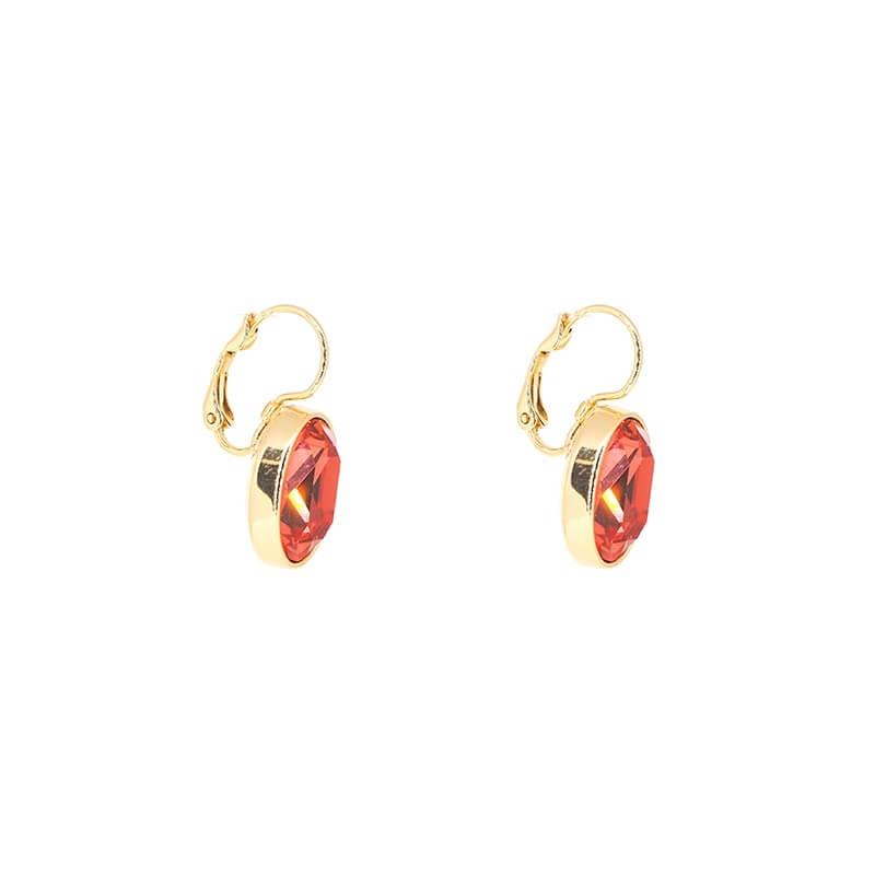 Boucles d'oreilles ovales padparadasha en acier jaune - Bohm Paris