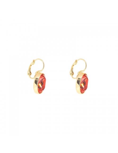 Boucles d'oreilles ovales padparadasha acier or - Bohm Paris