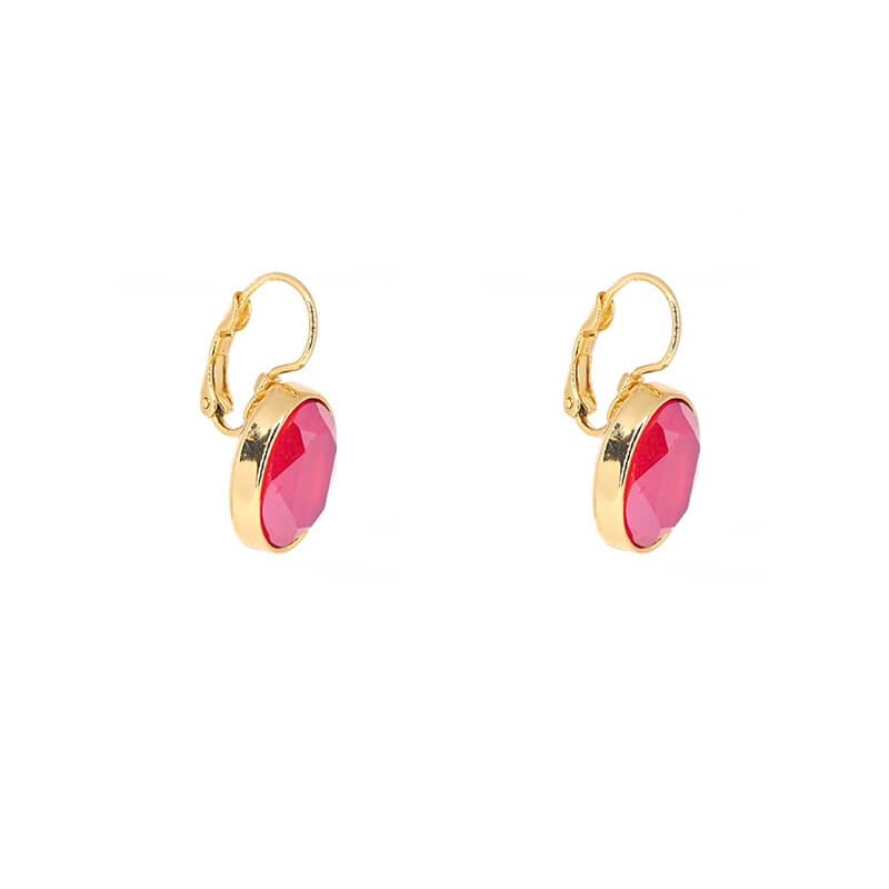 Boucles d'oreilles ovales royal red acier or - Bohm Paris