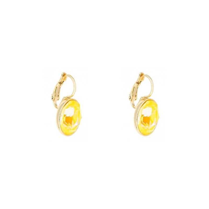 Boucles d'oreilles ovales sunshine delight en acier jaune - Bohm Paris