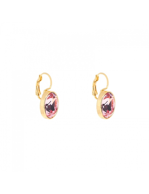 Boucles d'oreilles ovales rose peach acier or - Bohm Paris