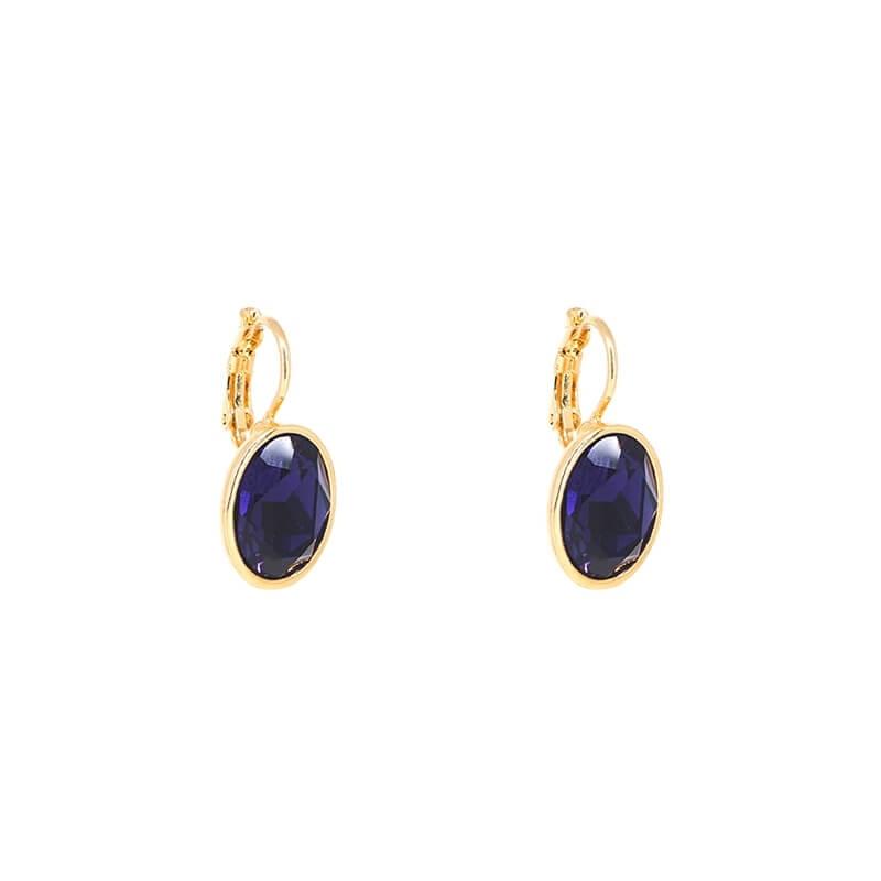 Oval purple velvet gold earrings - Bohm Paris