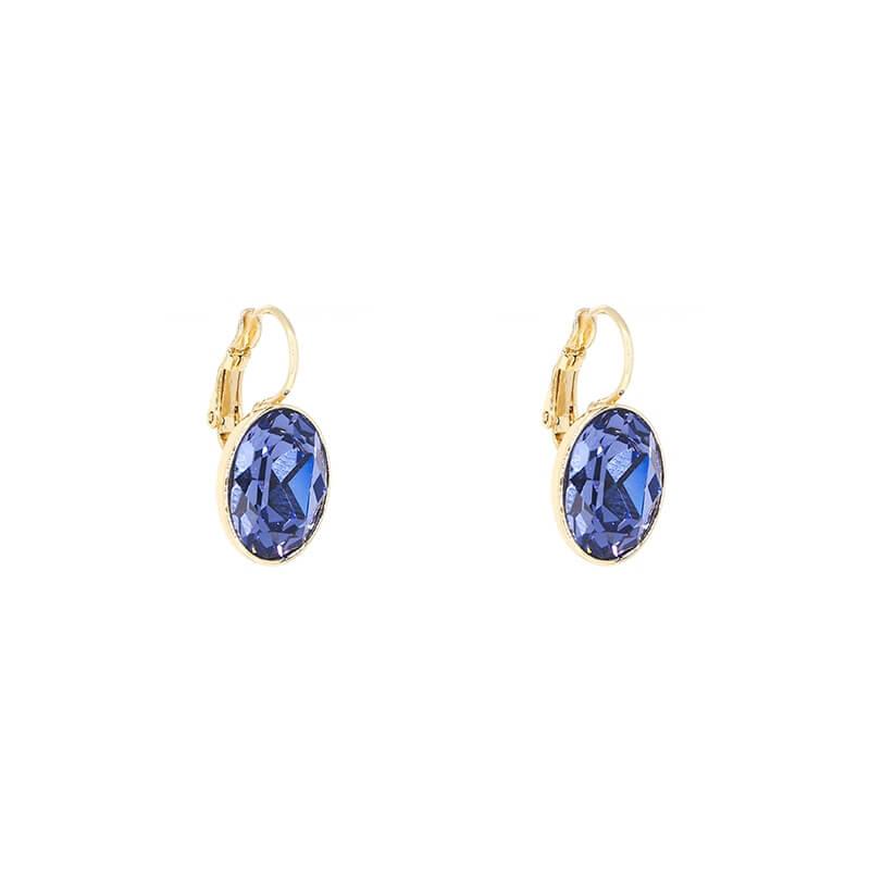 Boucles d'oreilles ovales tanzanite acier or - Bohm Paris