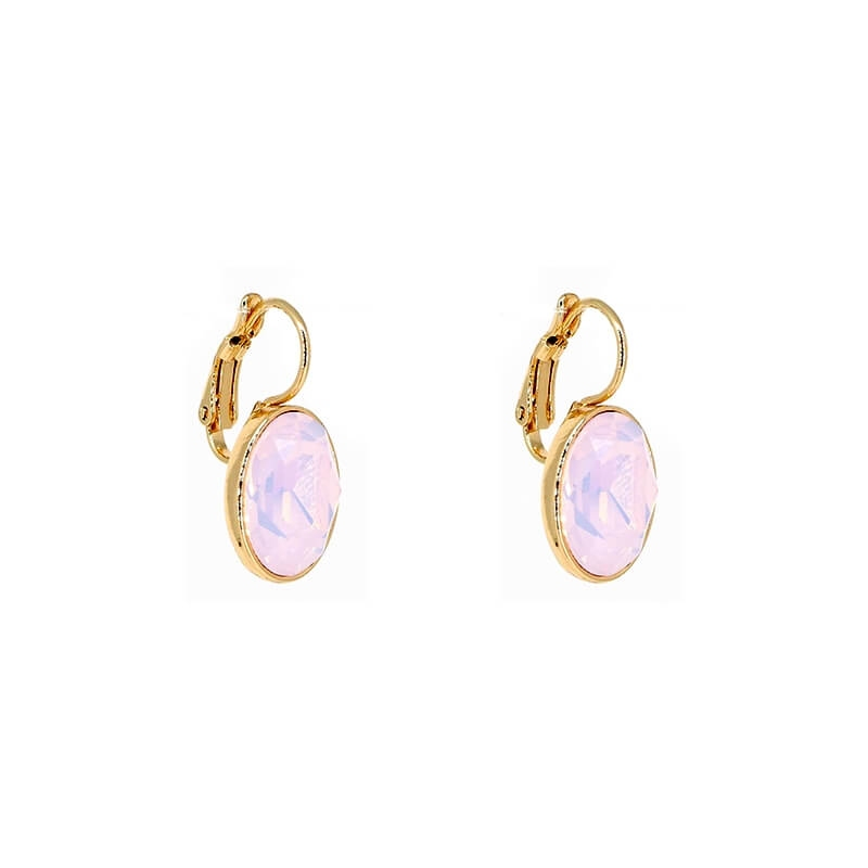 Boucles d'oreilles ovales rose opal en acier jaune - Bohm Paris