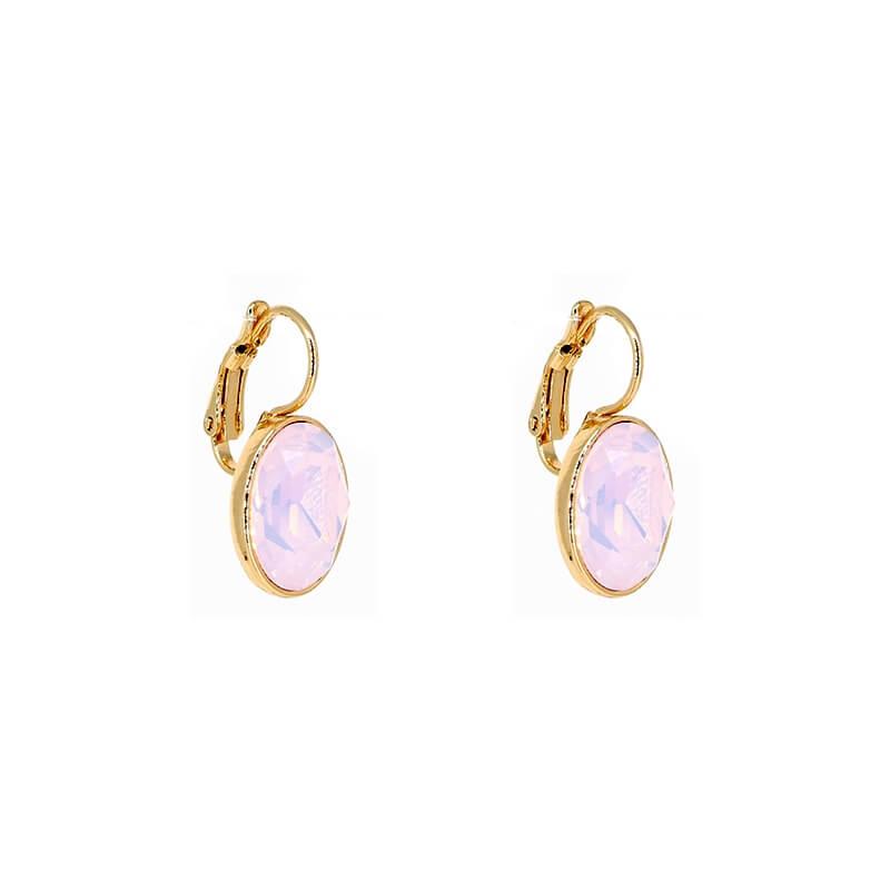 Boucles d'oreilles ovales rose opal acier or - Bohm Paris