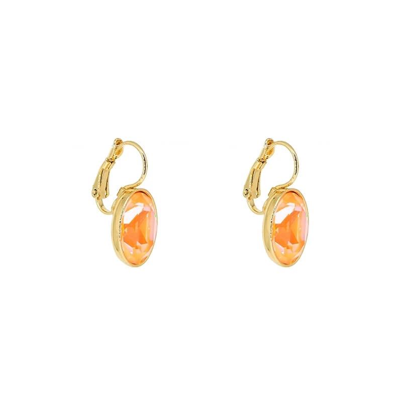 Oval peach delight gold earrings - Bohm Paris
